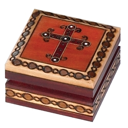 Polish Cross Box, Brass inlaid. Great Communion or Confirmation gift,  Perfect size for a rosary.
