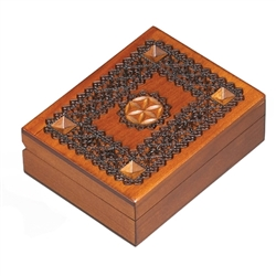 This beautiful box is made of seasoned Linden wood, from the Tatra Mountain region of Poland.  The skilled artisans of this region employ centuries old traditions and meticulous handcraftmanship to create a finished product of uncompromising quality.