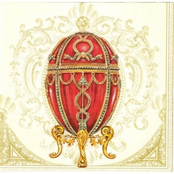Faberge Red Napkins (package of 20).  Three ply napkins with water based paints used in the printing process.