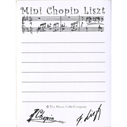 Mini Chopin Liszt tear-off Post-It note pad.  50 sheets per pad.  Great gift for anyone who loves music!