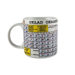 The periodic table of elements in Polish on a genuine high quality porcelain mug made in Poland.  Ok to use in the microwave and dishwasher safe.  Perfect gift for students, friends, colleagues.