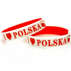 "I Love Polska says it all.  Small size (7"" - 18cm) wrist band with a little stretch designed for smaller wrists.