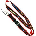 Black band imprinted with Polish paper cut designs and the words, Polska, Poland, Polonia and Pologne ( Polish, English, Italian and French) sewn on a red soft nylon band.  Convenient detachable end with a metal lobster clip for hanging keys, ID, etc.