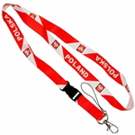 Red and white polyester band featuring the words Poland and Poland between crests of the Polish Eagle.   Convenient detachable end with a metal lobster clip for hanging keys, ID, etc.