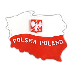 "Our magnet features Poland's red and white flag in an outline of Poland and the words ""Polska"" ""Poland"" in the lower half."