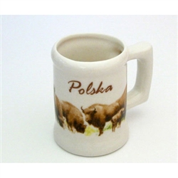 This mini porcelain mug is a great collector's item that makes a great gift for the curio cabinet.  Features a herd of Polish bison.
