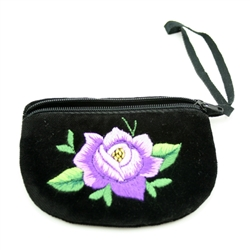 Hand embroidered change purse made from velvet.  Zipper closure.  Made in Lowicz, Poland