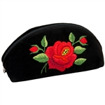 Hand embroidered pouch made from felt and velvet.  Zipper closure.  Please note that the rose design is right of center. Made in Lowicz, Poland