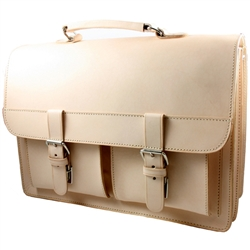 "Beautifully handcrafted briefcase made with the highest quality natural leather and superior craftsmanship.  Features two interior compartments (13"" - 33cm long). Two exterior compartments (one with a holder for business cards) and one with a holder for p"