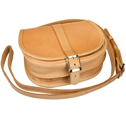 Hand made natural leather purse with shoulder strap hand made in Poland. Three compartments, one with a zipper. Business card holder in one compartment.  Fine supple natural leather and high quality Polish craftsmanship.