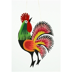 Hand made in Lowicz, Poland these rooster paper cuts are made from a base of colored card stock so they are quite sturdy.  You can display them all year round as well as at Christmas on the tree. Roosters are a classic Polish folk and symbolize fertility