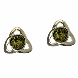 Green Amber Earrings Inside A Celtic Knot