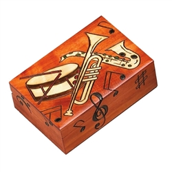 This lively box features a saxophone, trumpet and drum surrounded by musical notes and treble clef. You can almost hear the music and see the band!
