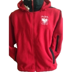 "This hooded fleece jacket is part of our new collection from Poland for all of our Polish fans.  This very attractive jacket features the Polish Eagle emblem on the front and the word ""Polska"" (Poland) embroidered at the bottom on the reverse.  100% polye"