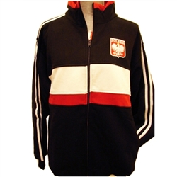 This warm, comfortable and stylish zip up jacket in black-as a main color- also has white and red stripes in the front, red collar and white stripes on the sleeves. It features The Crowned White Eagle in a red shield on the front left side and the word