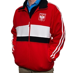 This warm, comfortable and stylish zip up jacket in red-as a main color- also has white and black stripes in the front, black collar and white stripes on the sleeves. It features The Crowned White Eagle in a red shield on the front left side and the word