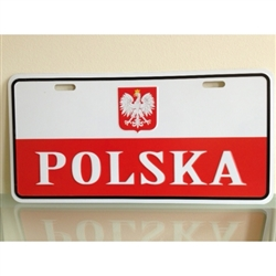 "Polish Flag with Eagle license plate made of corrosion resistant aluminum.  Standard US plate size with four slots for fastening.  Size 12"" x 6"" - 30.5cm x 15cm"