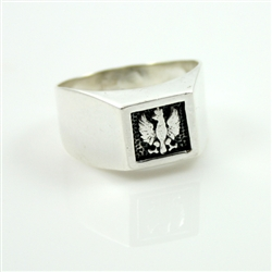Attractive sterling silver Polish eagle signet ring. Made in Poland  Sizes listed are US.