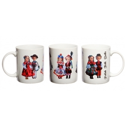 This attractive ceramic mug features three pairs of the most well known Polish folk dolls: Gorale, Krakowiak and Lowicz. Dishwasher safe. Made In Poland.