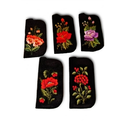 "Soft black felt sewn case with hand Lowicz style embroidered flowers on one side. Beautiful and functional. Size - 6.75"" x 3"" - 17cm x 7.5cm. Designed to fit standard size glasses. Check yours first. Floral designs vary. No two are exactly alike."