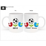 This attractive ceramic mug was created to commemorate the Euro 2012 football games hosted by Poland and the Ukraine. Pictures show both sides of the mug. Dishwasher safe. Made In Poland.