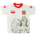 A great T-shirt with all the symbols of the country.  The Polish Coat of Arms on the left side and the Polish flag on the right above a nicely detailed large Polish eagle.
