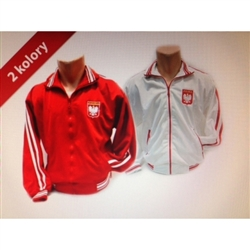 Deluxe zippered jacket is available in red or white.  Features the Polish Coat of Arms on the front and the word Polska (Poland) on the back.