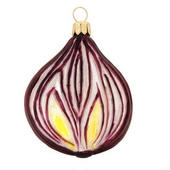 "The realism of this flavorful ornament is sure to bring you to tears! Our purple onion half is carefully crafted from glass in Poland by skilled artisans. Measuring 2¾"" tall, this onion ornament is deliciously glazed in purple and pearl white, with a hint"