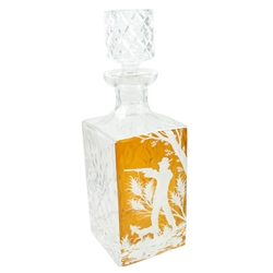 This is a genuine Polish hand-cut leaded crystal decanter with matching crystal stopper.  The front side is amber cased crystal into which is a detailed etching of a hunter scene.  Classic!