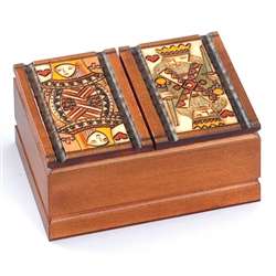 The king and queen of hearts decorate the top of this box. Lids open at center top and bottom of box with two compartments in each opening. The box can hold up to four standard sized decks of playing cards.