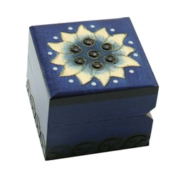 Rich blue matte finish. Hand carved floral design on top and 3 sides. Hinge and lid.
