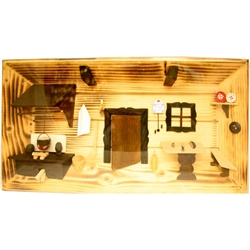 Poland has a long history of craftsmen working with wood in southern Poland. Their workshops produce beautiful hand made boxes, plates and carvings.  This shadow box is a look inside a Polish village home.