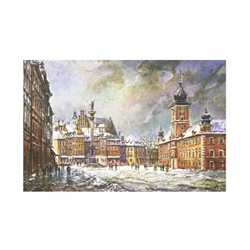 Beautiful print of a watercolor by Polish artist Michał Adamczyk. Looking to the north we see the famous Kolumna Zygmunta III Wazy (Sigismund's Column) on the left and the Royal Castle on the right.  Suitable for framing.  Includes an envelope for ma