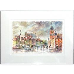 Beautiful print of a watercolor by Polish artist Wanda Maj-Adamczyk. Looking to the north we see the famous Kolumna Zygmunta III Wazy (Sigismund's Column) on the left and the Royal Castle on the right.  Suitable for framing.  Includes an envelope for mail