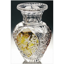 Polish Art Center Polish Crystal Amber Hummingbird Vase