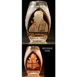 "Amber colored cased crystal is a Polish specialty.  Hand blown, cut and polished from the ""Julia"" factory in Poland,  this beautifully shaped vase features the portrait of John Paul II on one side and the Papal coat of arms on the other."