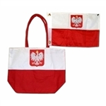 Large canvas bag and a Polish flag inside too.  Great beach items at a great price.  This is a novelty quality item not made in Poland.