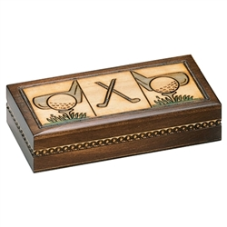 This cleverly designed box is sure to please any golfers you know.  It won't hold golf balls but makes a great storage area for jewelry and knick knacks. Hand burned designs.