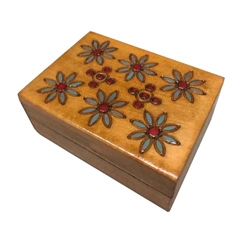 Light maple finish and hand painted multi-color floral design on lid. Hand painted burned design.