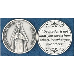 Saint Catherine of Sienna Pocket Token (Coin). Great for your pocket or coin purse.