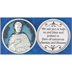 Saint Peregrine Blue Enamel Pocket Token (Coin). Great for your pocket or coin purse.