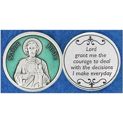 Saint Jude Green Enamel Pocket Token (Coin). Great for your pocket or coin purse.