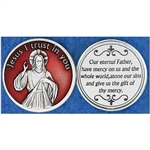 "Red Enamel Devine Mercy Pocket Token  Sister Faustina Kowalska, a humble daughter of Poland, was Canonized by Pope John Paul II. Jesus told her ""Humanity will not find peace until it turns with trust to God's Divine Mercy""."