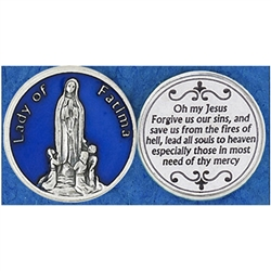 Our Lady of Fatima Blue Enamel Pocket Token (Coin). Great for your pocket or coin purse.