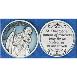 Saint Christopher Blue Enamel Pocket Token (Coin). Great for your pocket or coin purse.