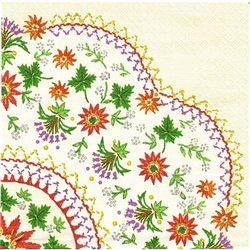 "Polish Folk Art Luncheon Napkins (package of 20) - ""Folk Embroidery"". Three ply napkins with water based paints used in the printing process."
