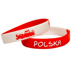 "Solidarnosc (Solidarity). The name and symbol of the worker organization that brought an end to the Communist regime in Poland. Picture show the front and back sides.  Medium size (8"" - 20cm) wrist band with a little stretch."