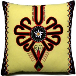 Beautiful stuffed folk design pillow. Design is the Parzenica and inside is the mountain flower, edelweiss (szarotka). 100% polyester and made in Poland. Back side of the pillow is solid black. Zipper on one side for convenient cleaning.