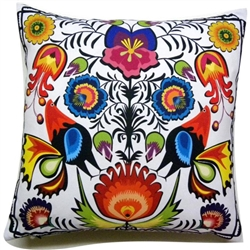 Beautiful stuffed folk design pillow. 100% polyester and made in Poland.  Back side of the pillow is solid black.  Zipper on one side for convenient cleaning.