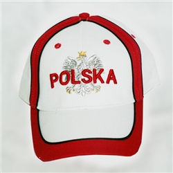 Display the Polish colors of red and white with this handsome looking cap with detailed embroidery work.   The front of the cap features a silver Polish Eagle with gold crown and talons.  On the back is a waving Polish flag. Features an adjustable cloth a